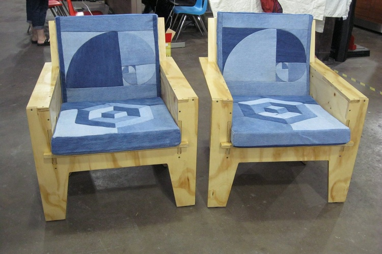 CNC Cut Plywood Chairs With Laser Cut Cushions